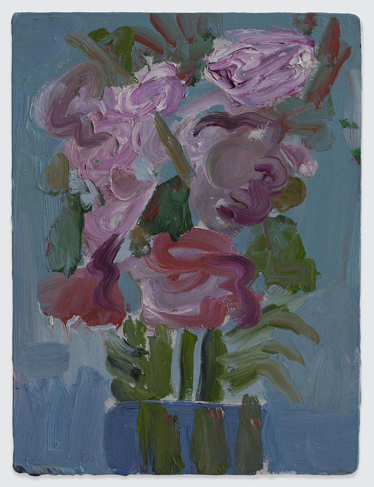 Georgina-Gratrix_Untitled-Pink-Flowers_2014_Oil-on-Board_40-x-30-cm
