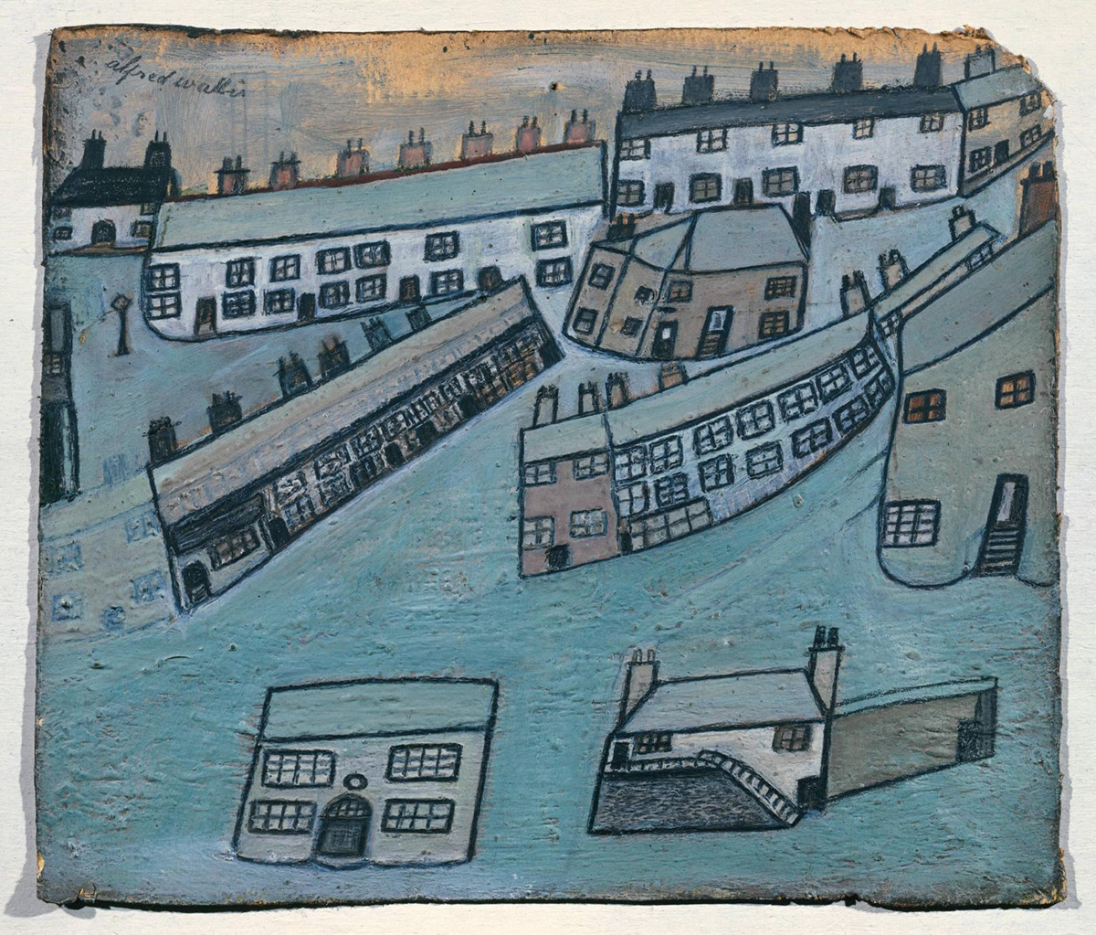 Houses at St Ives, Cornwall ?c.1928-42 by Alfred Wallis 1855-1942