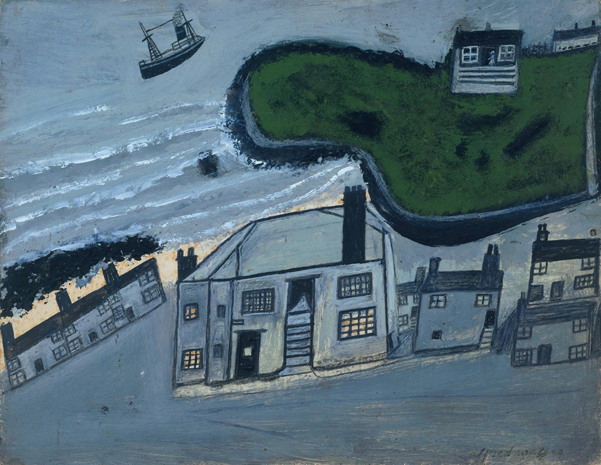 'The Hold House Port Mear Square Island Port Mear Beach' ?c.1932 by Alfred Wallis 1855-1942